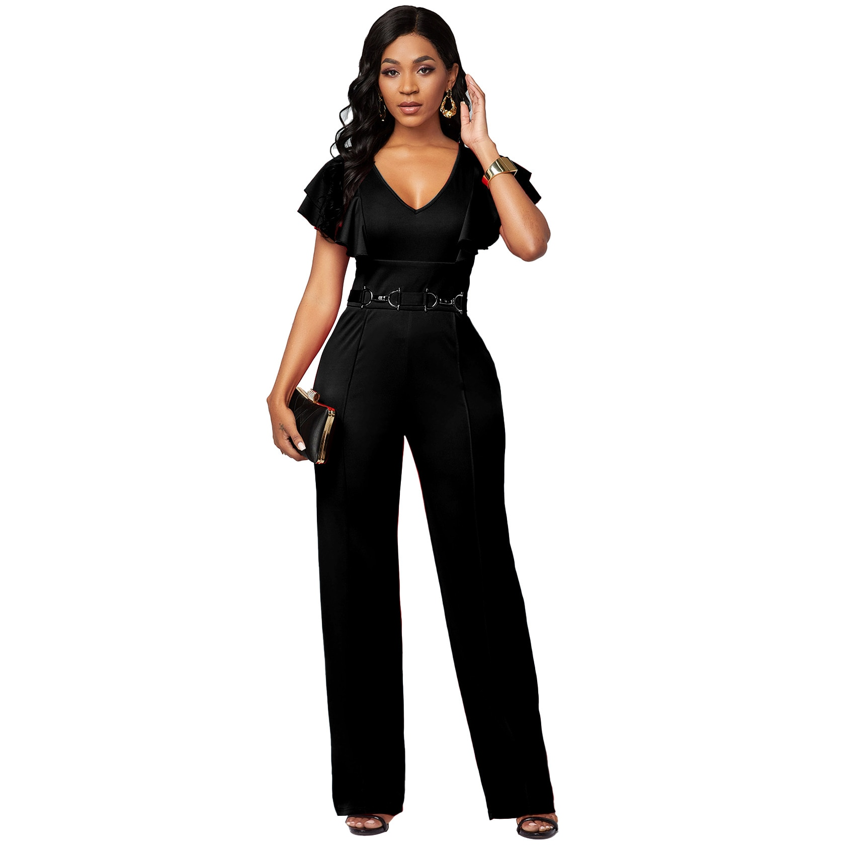New European and American Sexy Casual Fashion Long-sleeved V-neck Women's Jumpsuit Jump Suits for Women