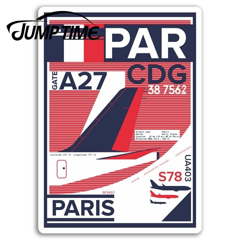 Pegatinas de vinilo para aeropuerto de París, pegatina de Francia CDG, de ordenador portátil para equipaje, Camper, ventana, calcomanía del motor, revestimiento para coche