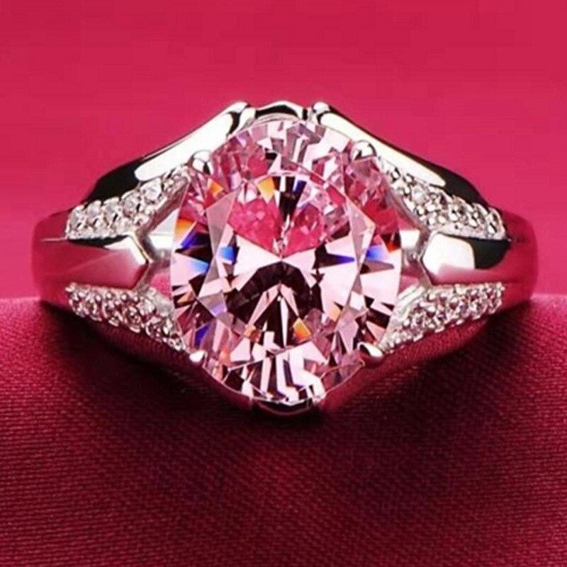 Paloma forma de huevo Rosa cristal anillo de promesa anillo de Mujer para Mujeres compromiso boda joyería regalo