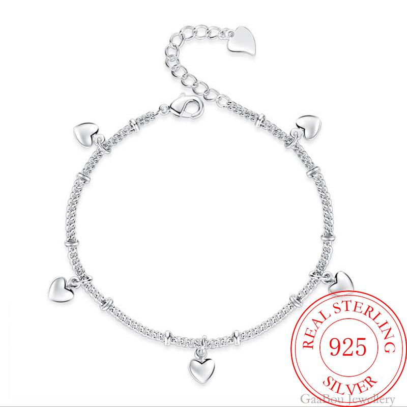 925 Sterling Silver Bracelets For Women Five Love Heart Charm Chain bangle pulseira Gift Wedding Luc