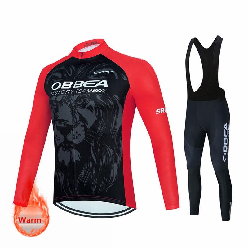 Team-Conjunto de camisetas de Ciclismo de Invierno, Ropa térmica de lana para...
