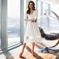 vestidos sexy wedding dresses jersey pleat v neck half sleeve zipper a line bridal gowns novia do 2021