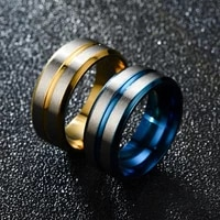 new simple double bevel two color ring fashion couple ring casual wedding party geometric ring jewelry