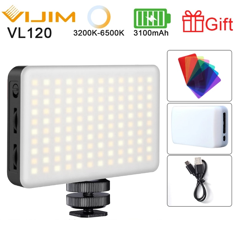 Ulanzi فيجيم VL120 LED كاميرا فيديو ضوء 3200k-6500K عكس الضوء استوديو مصباح Vlog ملء ضوء ث RGB لون تصفية سوفت بوكس الناشر