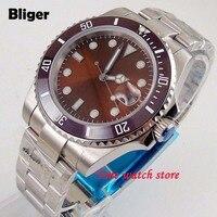 Bliger 40mm coffee Miyota 8215 automatic watch men sapphire glass waterproof dial Luminous ceramic bezel 182