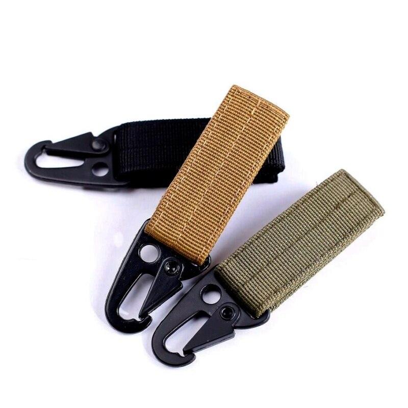 Outdoor EDC Gear Muti Tool Keychain Olecranon Carabiner Molle Nylon Webbing Belt Strap Metal Hook Tactical Backpack Clasp