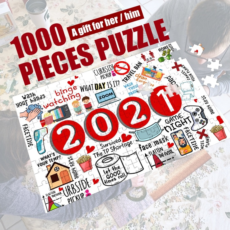 Puzzle 1000 Piece Jigsaw Puzzle Educational Cartoon Plane Puzzle Game Toy Interactive Toy