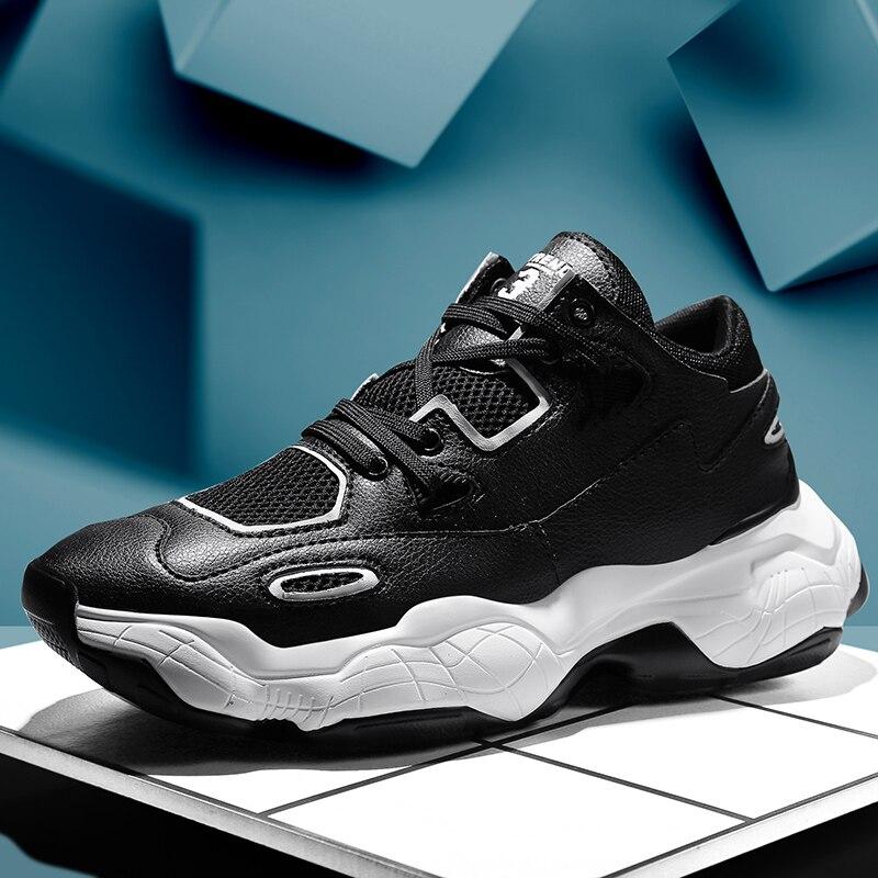 2020 zapatos de primavera para hombre, zapatillas informales con cordones de tendencia, zapatillas gruesas de malla transpirable, cómodas, a la moda, zapatos gruesos de marea para hombres