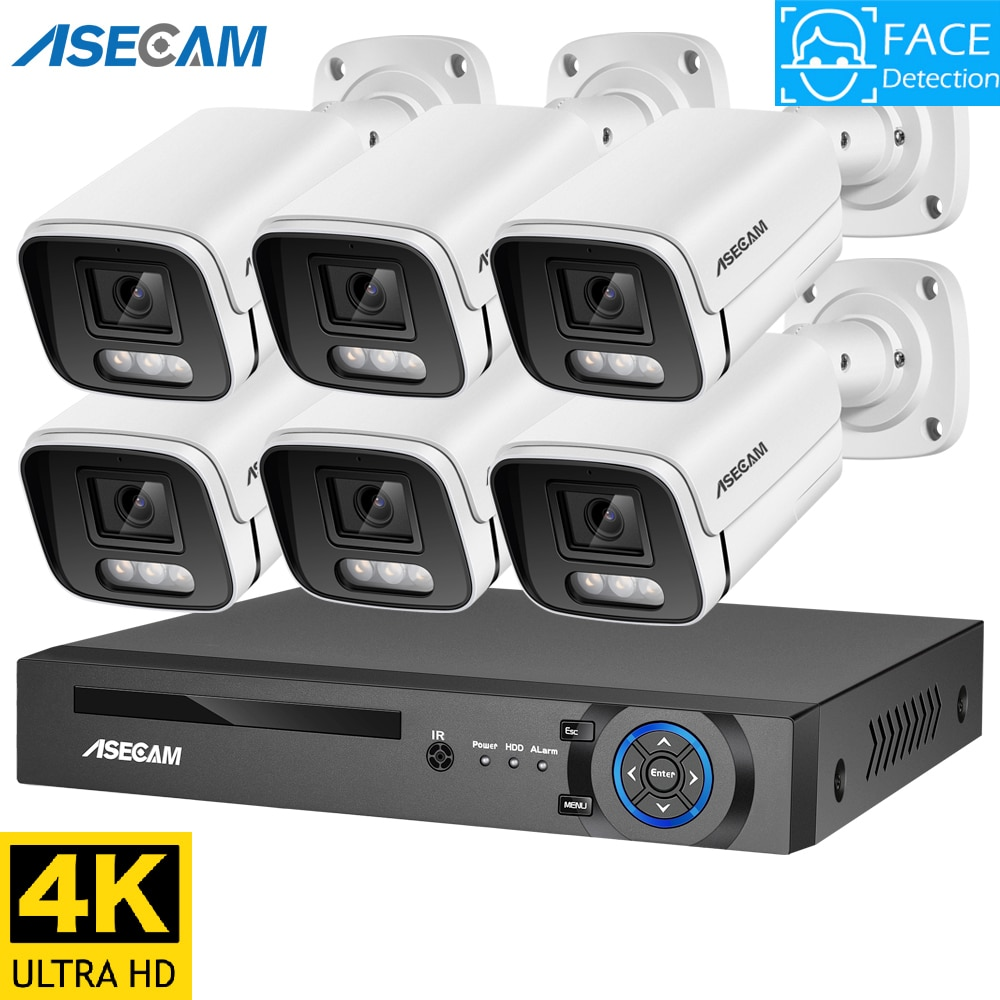 8MP 4K Ai Face Detection Security Camera System POE NVR Kit CCTV Video Record Outdoor Home Human Aud