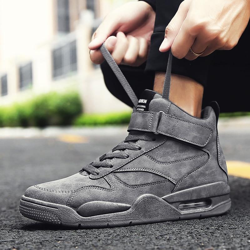 Zapatillas altas con amortiguación para hombre, calzado informal con cordones, zapatos gruesos para hombre, zapatos cómodos de moda para hombre