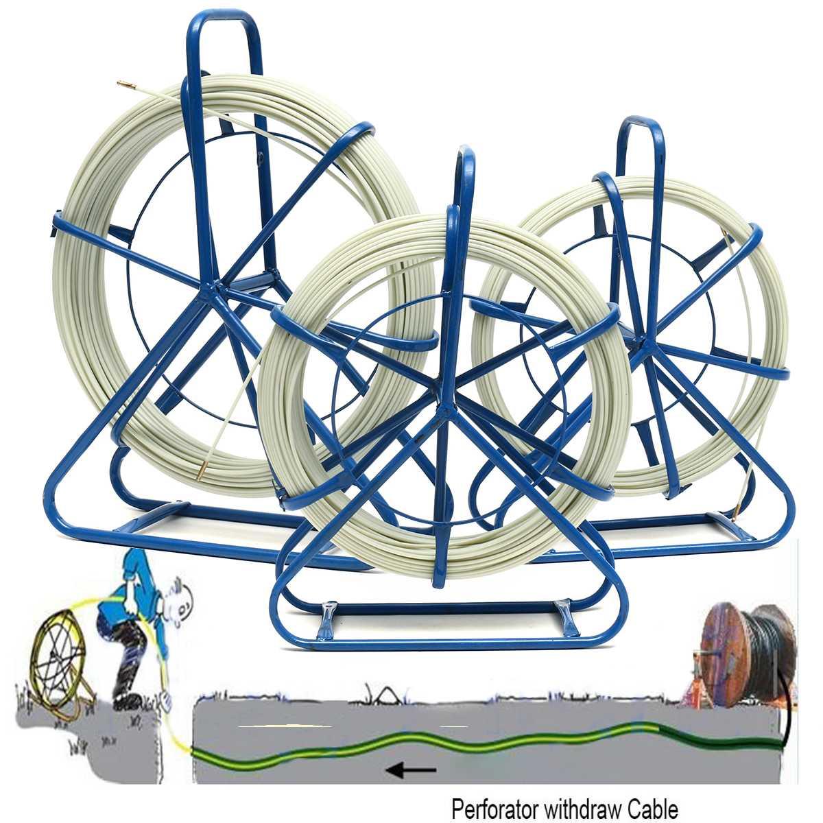 4,5/6 мм Рыбная лента Стекловолоконная катушка проволочная кабельная труба ходовой шток воздуховод Rodder Рыбная лента Съемник Стекловолоконны...