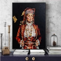 black red abstract vintage lady oil painting wall art design tribal girl canvas painting picture for living room home decor