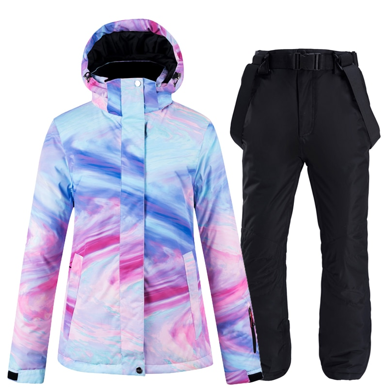 New color thick warm ski suit women's windproof and waterproof outdoor snow jacket and pants ski suit and snowboard wear