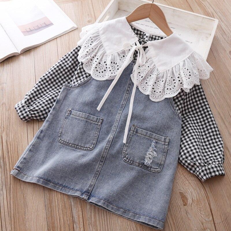 Conjunto de ropa de princesa de 2 artículos para niñas colección primavera temporada tops de encaje a cuadros con mangas largas