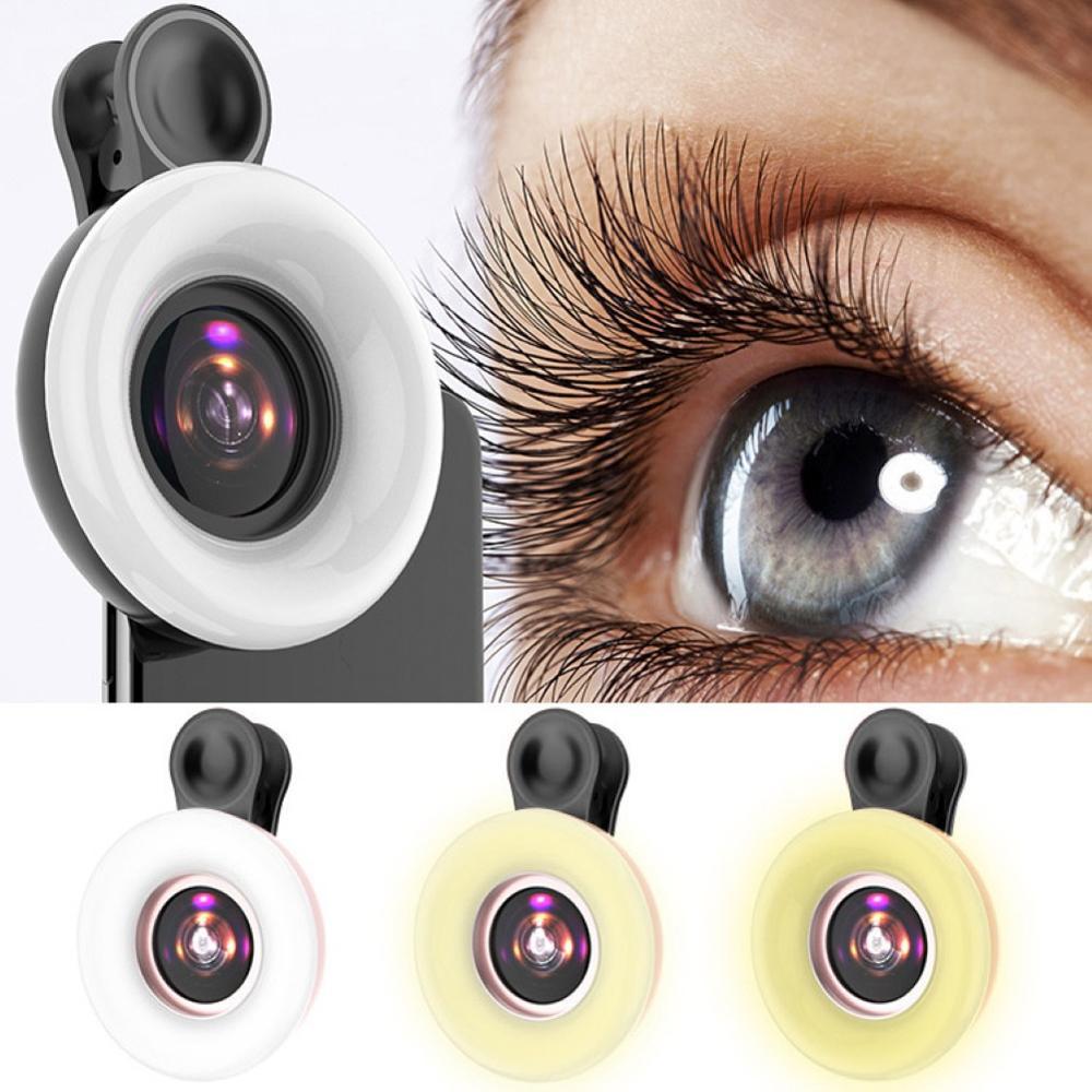Universal Selfie LED Ring Flash Light Portable Mobile Phone 50 LEDS Selfie Lamp Luminous Ring Clip 15X Photography Phone Macro L