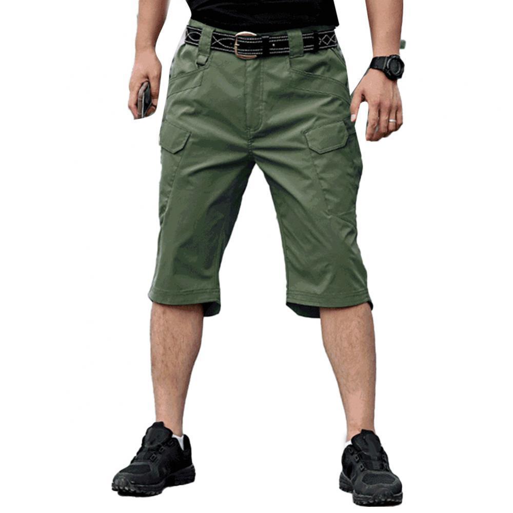 Men Harem Cargo Pants Solid Color Multi-Pockets Quick Dry Outdoors Capri Pants Trousers 2021 Outdoor Hiking Casual Short Pants