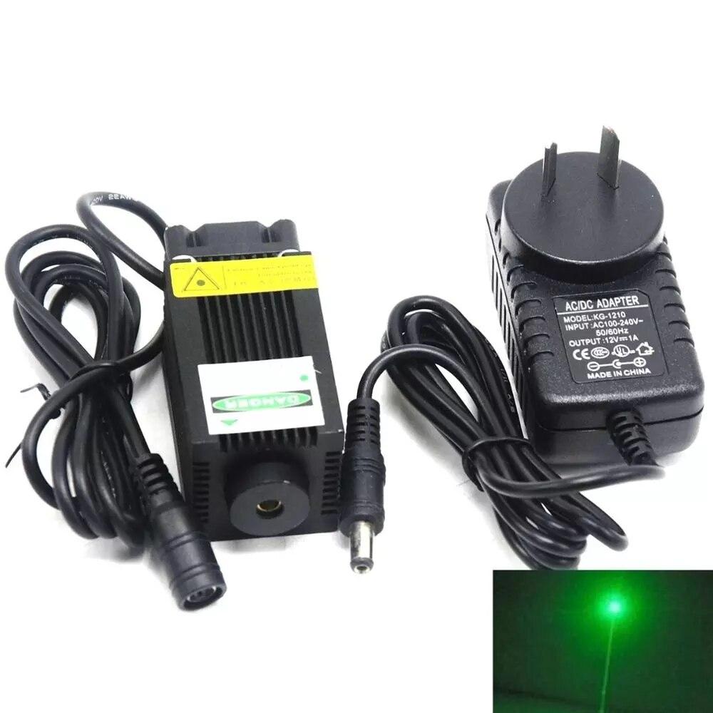 Мощный 532 нм 100 мВт 33x55 мм зеленый лазер диод модуль точка свет светодиод свет w% 2F 12V адаптер