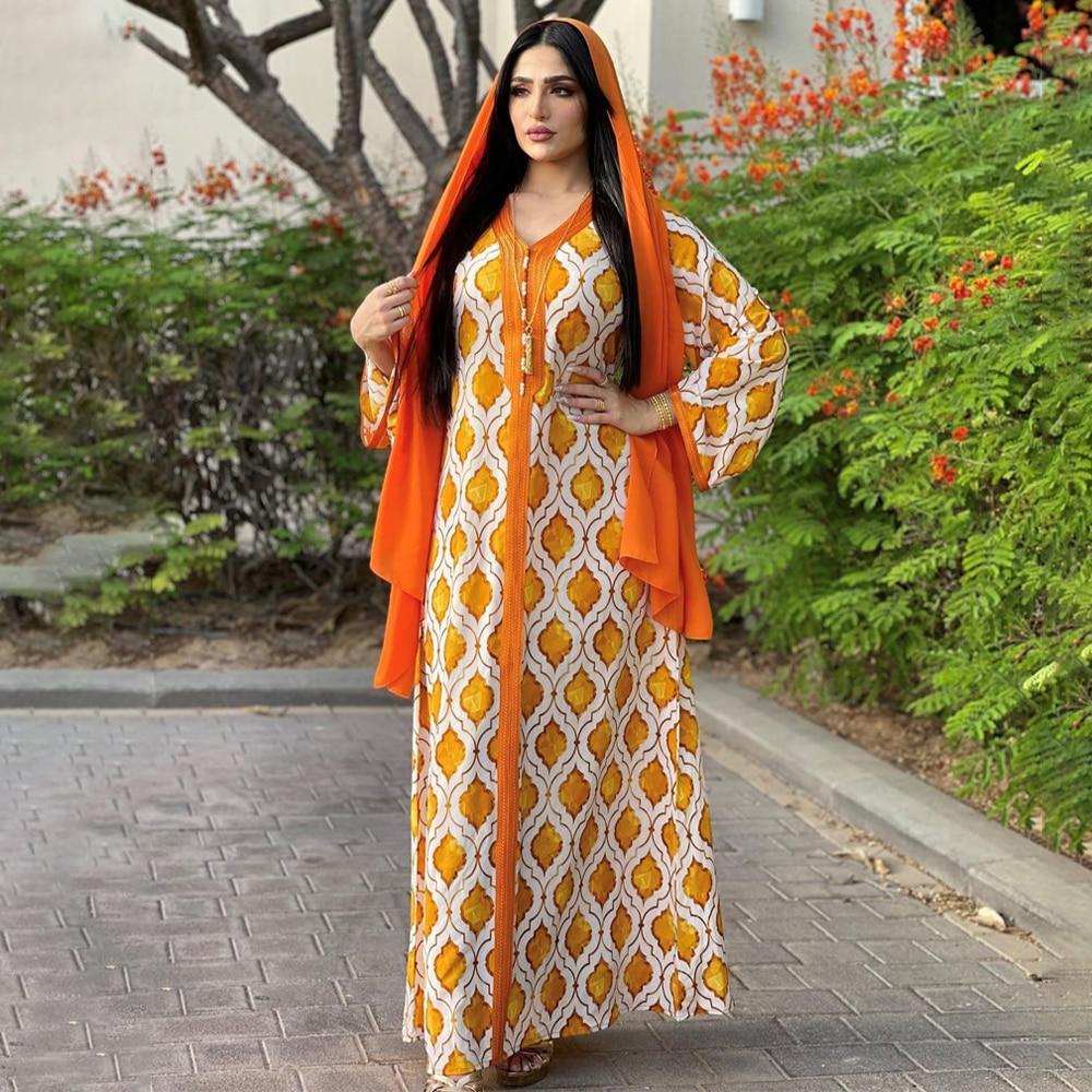 MD نساء مسلمات قفطان عباية باكستانية دبي فستان ملابس إسلامية تركي كيمونو أنيق سيدة كم طويل بوهيمي Bubu ملابس