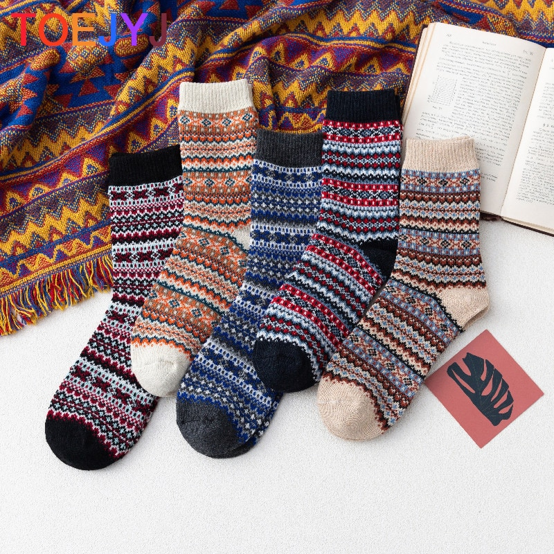5 Pairs Autumn Winter Women Wool Socks Waves Thick Line Warmer Ethnic Style Cashmere Thermal Thicken