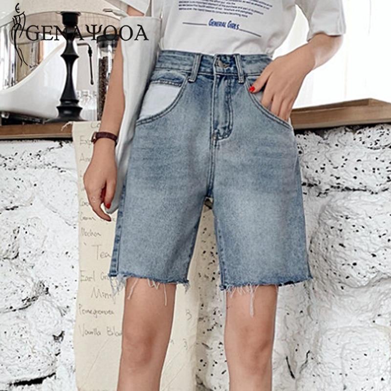 Genayooa New Arrival Jeans Shorts Women High Waist Demin Shorts Casual  Streetwear Ripped Biker Shorts Jeans Feminino Blue 2019