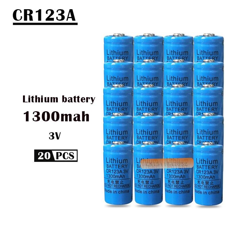 20 piezas 3V CR123A Célula de batería de litio 1300mah CR123 CR17335 CR17345 16340 LiMnO2 seco primaria batería para la cámara