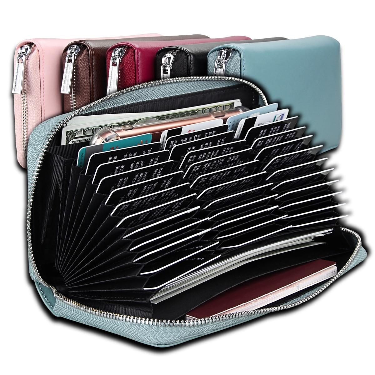 Genuine Leather Card Bag Passport Bag  Large Capacity Long Credit Wallet Multi-functional Mens Womens Wallet