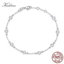 Kaletine Women Bracelet 925 Sterling Silver Clear CZ Custom Bracelets for Women White Gold Color Charm Pride Jewelry KLTB096