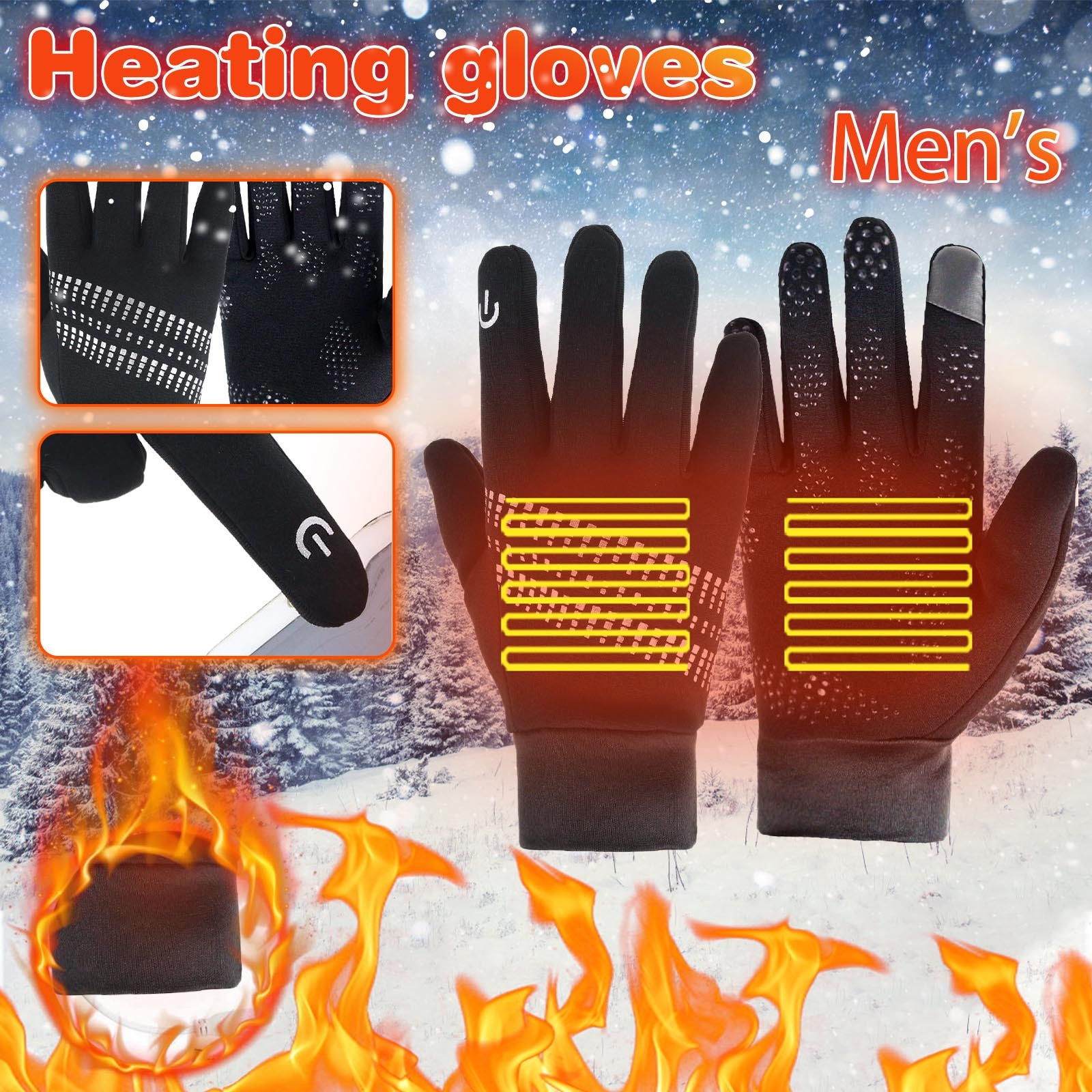 Guantes cálidos con pantalla táctil para hombre, resistentes al viento, para invierno