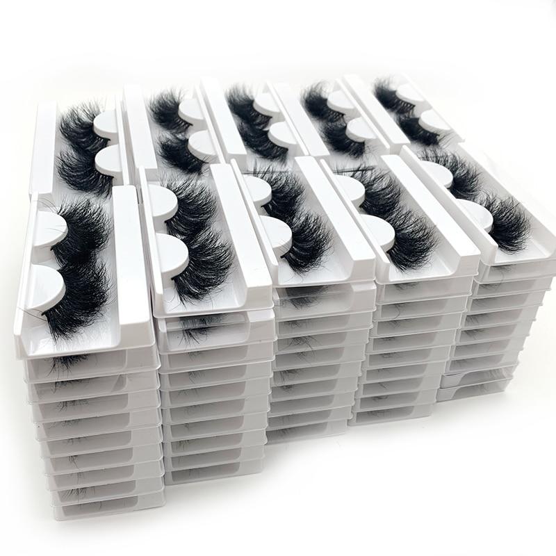 Rainsin Wholesale Thick Volume 100 Pairs DHL Shipping Fluffy Real Mink Hair New Arrivals Wispy Mink Eyelashes Bulk Tray No Box