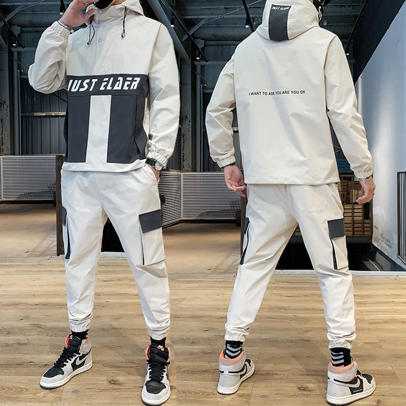 Hip Hop Military Men Tracksuit Hooded Jacket+Pant Patchwork 2PC Set For Fashion Mens Sportswear Suits