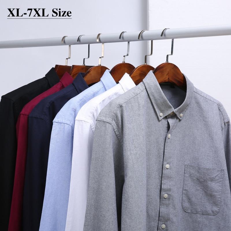 قميص بأكمام طويلة للرجال ، مقاس كبير 5XL 6XL 7XL ، خريف وشتاء ، 100% قطن ، كلاسيكي ، فضفاض ، للأعمال ، غير رسمي ، منقوش ، ذو علامة تجارية
