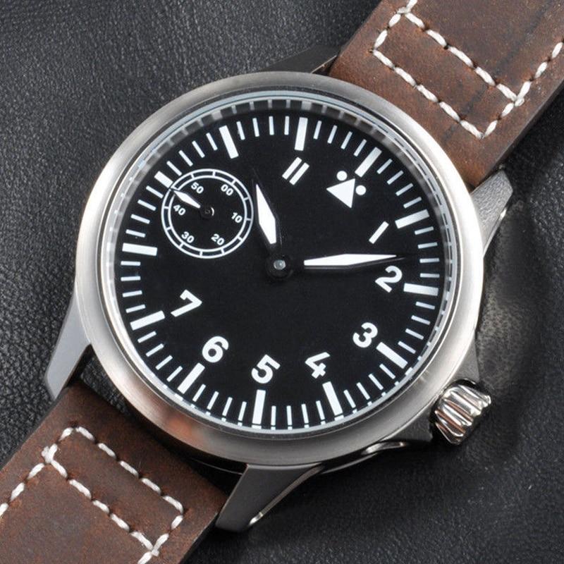 CORGEUT 44 مللي متر الرجال ساعة 17 جوهرة الميكانيكية اليد لف ساعة النورس 3600 حركة 6497 الجلود الرياضة مضيئة ساعة اليد الرجال