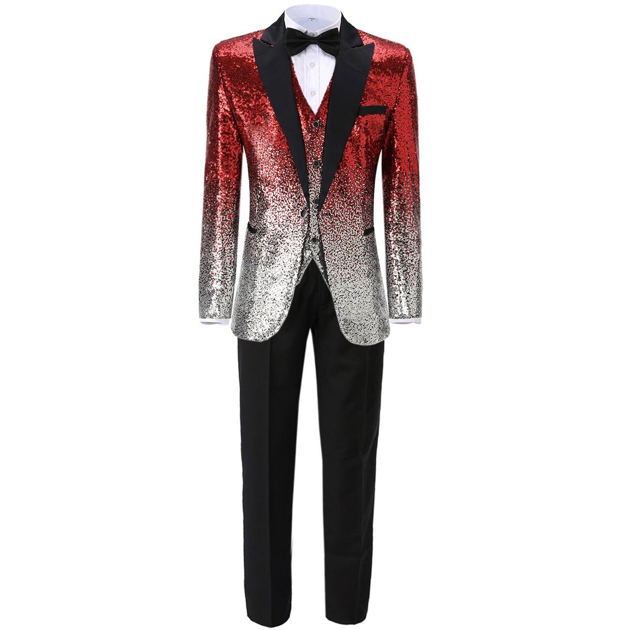 Slim Fit Gradient Sequin Men's Suit 3 Pieces Business Notch Lapel Vest Causal Tuxedos Groomsmen For Party(Blazer+vest+Pants)