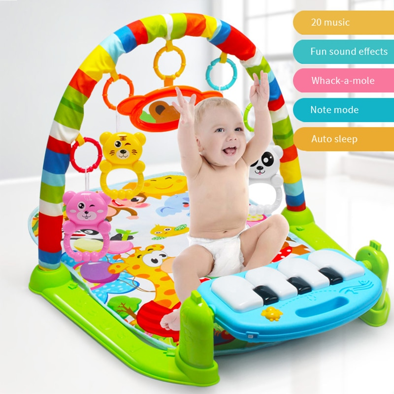 infant baby flying chess waterproof play mat early learning toy fitness bodybuilding frame crawling mat kick play lay sit toy Baby Play Mat Carpet Toy Music Crawling Mat Bring Support Rattle kid Early Education Puzzle Carpet Fitness Play Climbing Mat