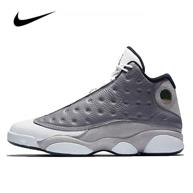 Jordan sapatos de basquete, calçados esportivos femininos originais nike air jordan 13, atmosfera retrô, cinza botas, botas