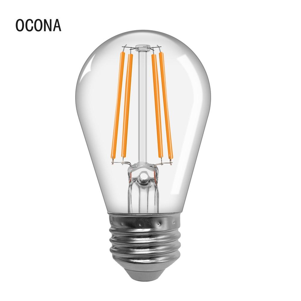 Винтажная Светодиодная лампа Эдисона 220 в E27 G45 светильник лампа теплого белого и прозрачного стекла, лампа накаливания в стиле ретро, 4 Вт, бе...