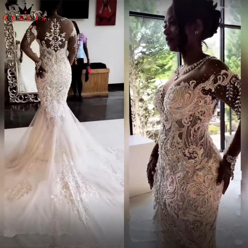 Luxury Mermaid Long Sleeve Big Train Tulle Lace Diamond Crystal Sexy Wedding Dresses Women Bride Gowns Custom Size SK93