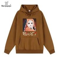 2021 anime gambling abyss hoodies menwomen harajuku long sleeved striped hooded sweatshirt pullover tops