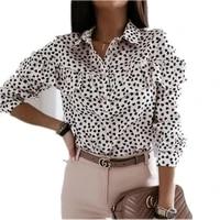 spring summer 2021 european american new fashion ladies long sleeved printed shirt lapel flounce single breasted loose shirt