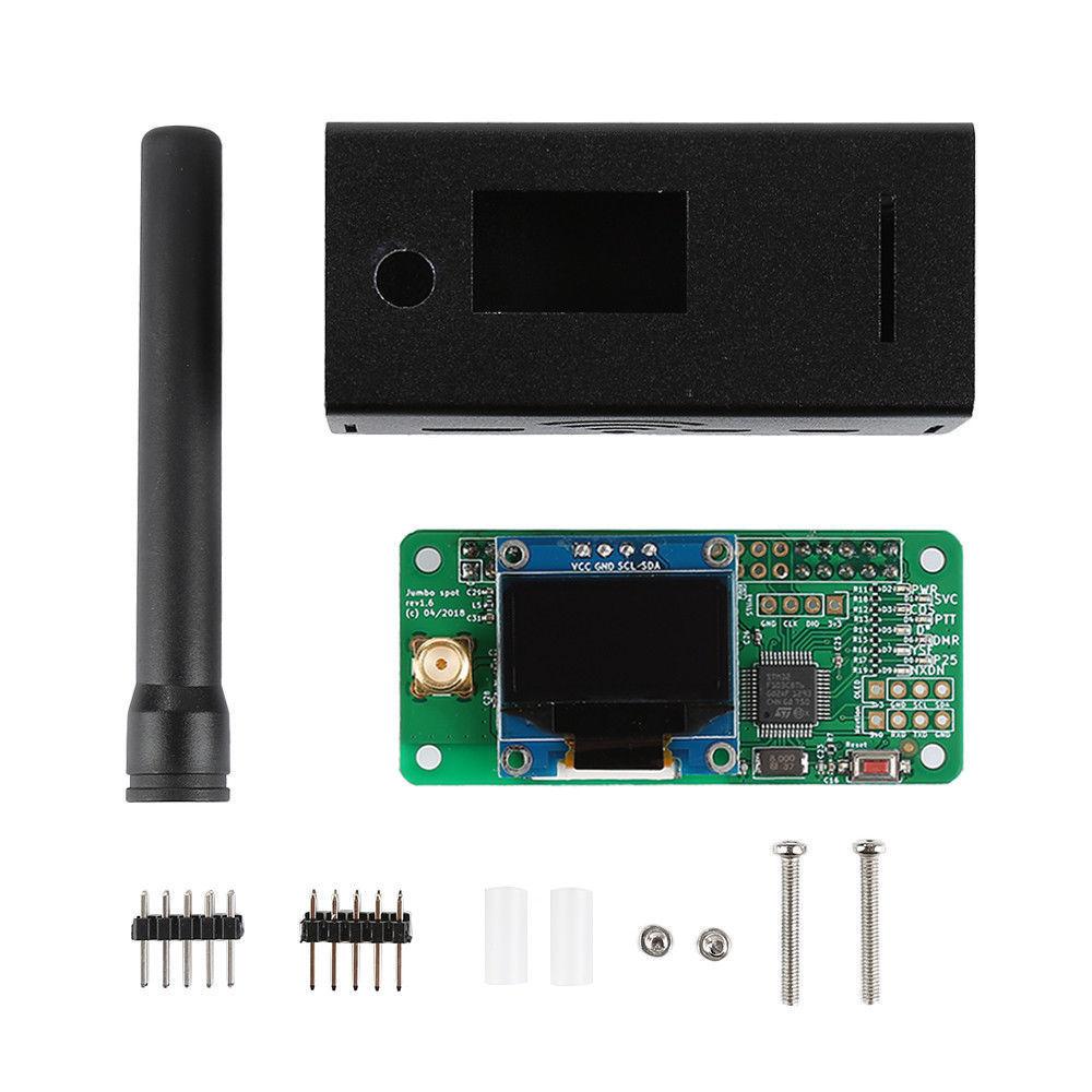 نقطة اتصال V1.7 Jumbospot UHF VHF UV MMDVM لأجهزة P25 DMR YSF DSTAR NXDN Raspberry Pi صفر 3B + OLED + حافظة معدنية + هوائي