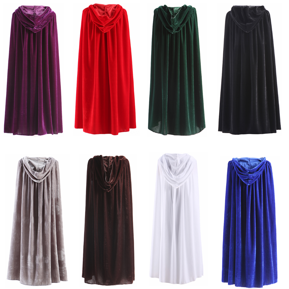 Adult Hooded Cloak Long Velvet Cape Robe Green Black Red Halloween Carnival Purim Coats Medieval Witch Wicca Vampire Costume unisex halloween christmas cloak cape adult men women hooded long cloak black costume dress coats death wizard cosplay costume