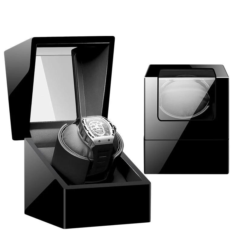 Single Watch Winder Box Black Auto Self Winding Wooden Mechanical Watches Boxes Case Accessories Storage Holder Watchwinder