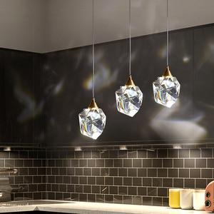 Modern Diamond Chandelier Creative Restaurant Bar Crystal Pendant Light Personality Bedroom Bedside Hanging Light Suspension