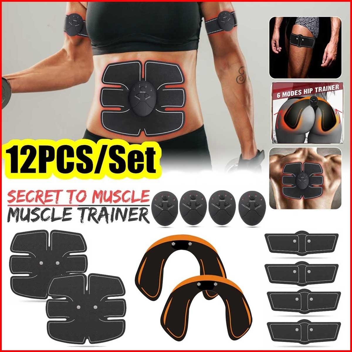 12pcs/Set 10 Grade 6 Mode Unisex EMS Hips Trainer and Butt Toner,EMS Muscle Stimulator Abdomen Fat Burning Training Gear