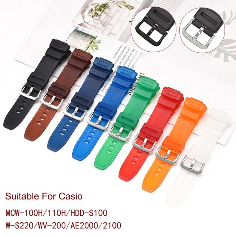 Horloge Band Voor Casio MCW-100H W-S220 AE-2000 AE-2100 W-S220 Sport Horloge Accessorys 16 Mm Horlogeband Armband Riem Bandjes