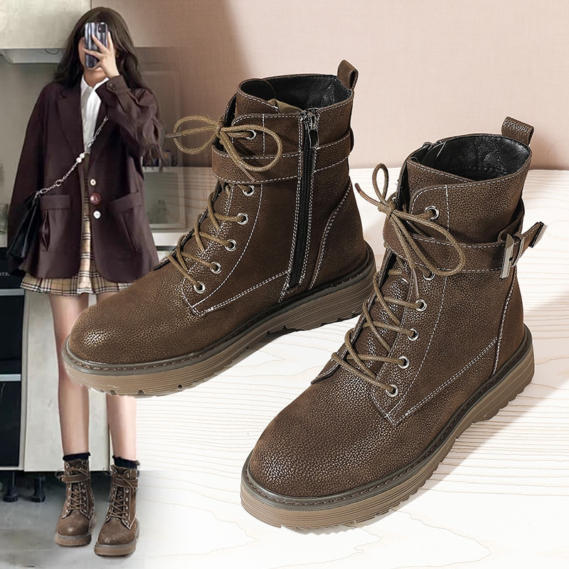 autumn winter men s chelsea boots british style fashion ankle boots black brown grey brogues soft leather casual shoes business British Style Women Retro Tooling Boots Black Autumn Winter Motorcycle Boots PU Leather Martin Short Ankle Boots Casual Shoes