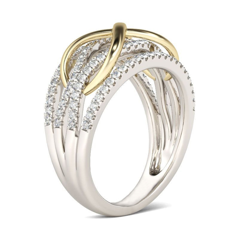 Infinite Love Two-Tone Gold Ring Shiny Cubic Zircon Bow Knot Letter 8 Eternal Promise Jewelry for Girlfriend