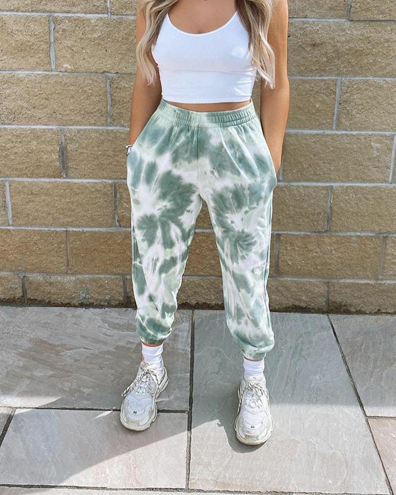 Tie Dye Printed Sweatpants Women Casual Loose Long Trousers Elastic High Waist Pants Capris Joggers