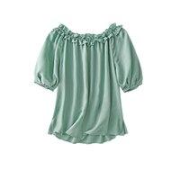 SHUCHAN Beach Style  Women Tops  Slash Neck  Lantern Sleeve Tencel/Lyocell  Appliques Off Shoulder Women Shirts Blouses