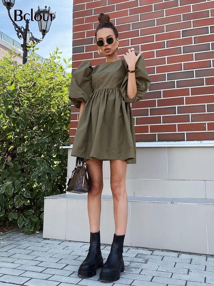 Bclout Green Vintage Puff Sleeve Women Dress Elegant High Waist A-Line Dresses O Neck Sexy Summer Sh